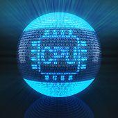 CPU symbol on globe formed by binary code