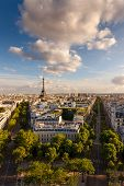 Aerial View Of Paris And The Eiffel Tower