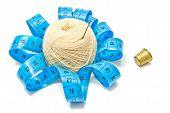 Thimble, Meter And White Yarn