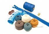 Different Balls Of Yarn And Blue Meter