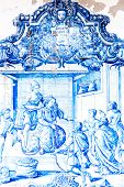 BAHIA, BRAZIL - CIRCA NOV 2014: Blue tile in Sao Francisco monastery created by Bartolomeu de Jesus in the mid-eighteenth century in Bahia, Brazil.