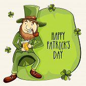 Happy Leprechaun holding beer mug and smocking tobacco pipe on occasion of Happy Patrick's Day celebration.