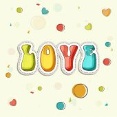stock photo of corazon  - Colorful text Love on hearts decorated background for Happy Valentine - JPG
