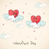 Cute funny red hearts on clouds for Happy Valentine's Day celebration.