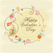 Colorful gifts and pink hearts decorated frame with text Happy Valentine's Day celebration.