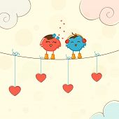 Cute love bird couple wearing headphone and red hearts hanging by rope for Happy Valentine's Day celebration.