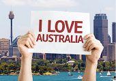 I Love Australia card with Sydney background