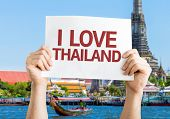 I Love Thailand card with temple background
