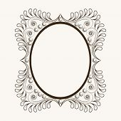 Beautiful floral design decorated frame in oval shape.
