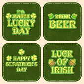 Beautiful vintage sticker, tag or label for Happy St. Patrick's Day celebration.