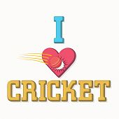 Stylish text I Love Cricket with illustration of red ball hitting the heart on white background.