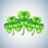 Stylish Patricks Day Card With Green 3D Leaf Clover