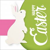 Happy Easter lettering greeting card with bunny. Simple flat design.