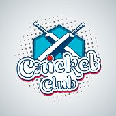 Stylish text Cricket Club with bat and red ball on shiny sky blue background.