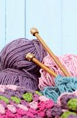 Yarn crafts, wool in purple and pink