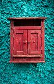 vintage Red wooden mailbox