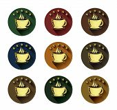 Golden coffee cup and five star icons set