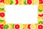 Fresh Tropic Fruits Isolated On A White. Frame For Text Message.