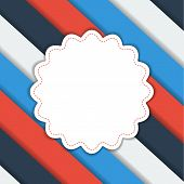 Geometrical Striped Background With Flower Label