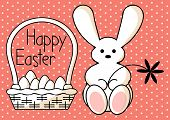 cartoon happy easter card with bunny sitting by the basket with eggs