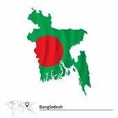 image of bangladesh  - Map of Bangladesh with flag  - JPG