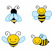 pic of bumble bee  - Collection of colorful bee isolated on white backgrounds art and illustration - JPG
