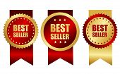 Best Seller Award Ribbon Gold And Red