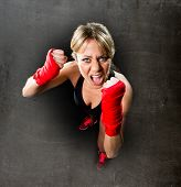 Young Sexy Girl Training Boxing Fist Wrapped Fighting Woman Concept