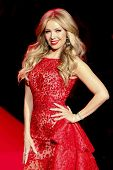 NEW YORK-FEB 12: Singer Thalia wears Shady Zein Eldein at Go Red for Women - The Heart Truth Red Dress Collection at Mercedes-Benz Fashion Week at Lincoln Center on February 12, 2014 in New York City.