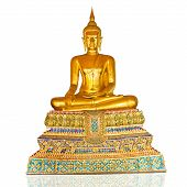 stock photo of cult  - Buddha image in the Buddhist religion Yasna golden splendor - JPG