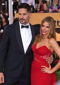 LOS ANGELES - JAN 25:  Joe Manganiello & Sofia Vergara arrives to the 21st Annual Screen Actors Guild Awards  on January 25, 2015 in Los Angeles, CA