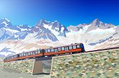 Train in high Alps mountains. EPS 10 format.