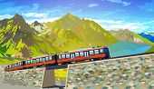 Train in high Alps mountains. Summer season. EPS 10 format.