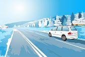Alps car winter travel. EPS 10 format.