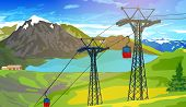 Cableway in Swiss Alps at summer. EPS 10 format.