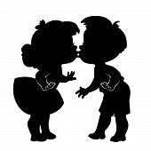 Silhouette Of Two Kissing Children On White Background