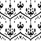 Black and white ikat middle east traditional silk fabric seamless pattern, vector