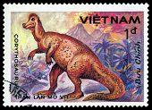 Vintage  Postage Stamp. Corythosaurus.