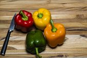 Peppers On Cutting Board