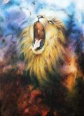 Roaring Lion On A Abstract Cosmical Background