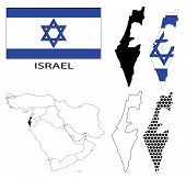 Israel - Flag, four vector map contours and Middle East map