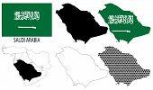 Saudi Arabia - Flag, four vector map contours and Middle East map