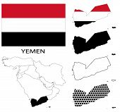 Yemen - Flag, four vector map contours and Middle East map