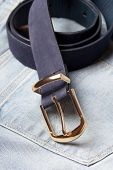 Close Up Of Leather Belt On Jeans