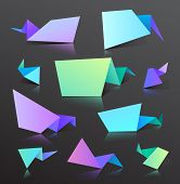set of vector colorful origami bubbles isolated