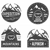 Set of mountain explorer labels