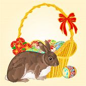 Easter  Rabbit  And Easter Wicker Vector