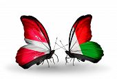 Two Butterflies With Flags On Wings As Symbol Of Relations Latvia And Madagascar