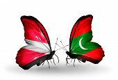 Two Butterflies With Flags On Wings As Symbol Of Relations Latvia And Maldives