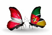 Two Butterflies With Flags On Wings As Symbol Of Relations Latvia And Mozambique